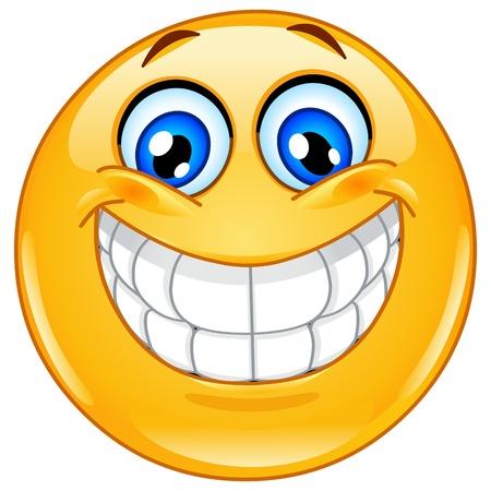 sorridente: Emoticon com um sorriso cheio de dentes grande Ilustração