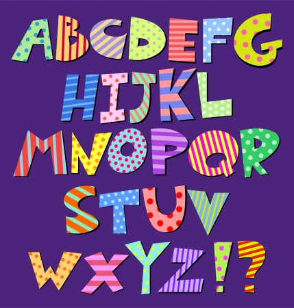 Colorful patterns comic alphabet Vector