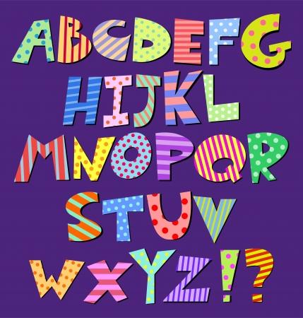 Colorful patterns comic alphabet Vector