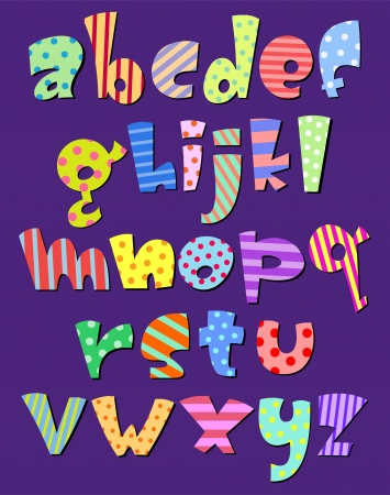 Colorful lower case pattern alphabet Vector