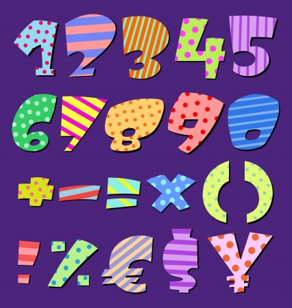 Colorful patterns comic numbers Vector