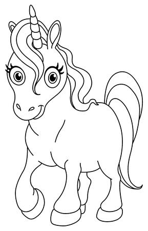 niños pintando: Outlined lindo unicornio Vectores