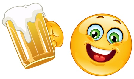 Emoticon cheering with a mug of beer Vector
