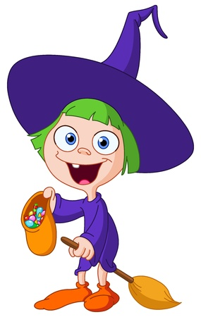 Trick or treating witch girl Vector