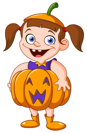Cute young girl in a pumpkin costume celebrating Halloween Vector