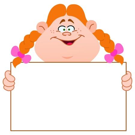 hand holding card: Jonge roodharige meisje met een leeg teken