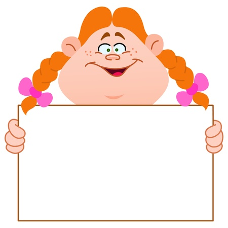 Young redhead girl carrying a blank sign Vector