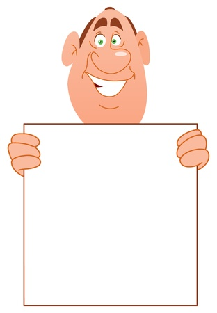 people holding sign: Smiling man carrying a blank sign Illustration