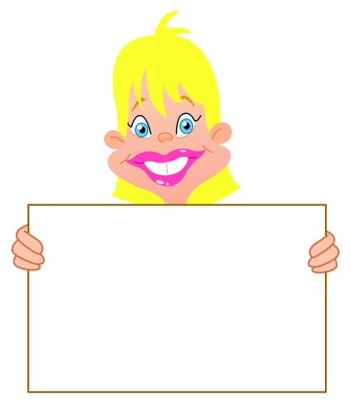 Blond girl carrying a blank sign Vector