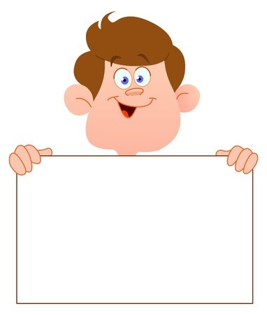 cartoon boy: Smiling teenager with a blank sign Illustration