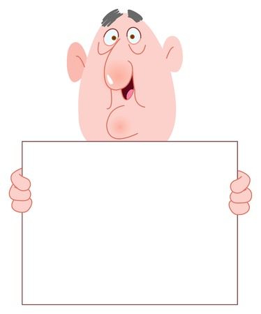 wrinkled face: Old man holding a blank sign