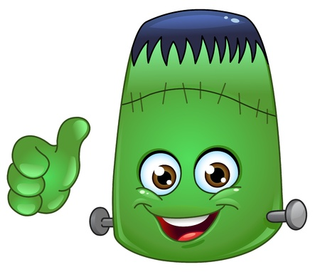 trick or treat: Frankenstein emoticon with thumb up Illustration