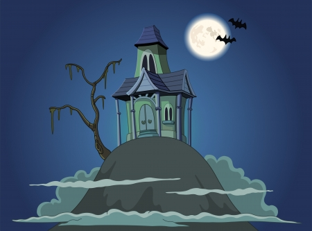 spooky tree: Haunted house