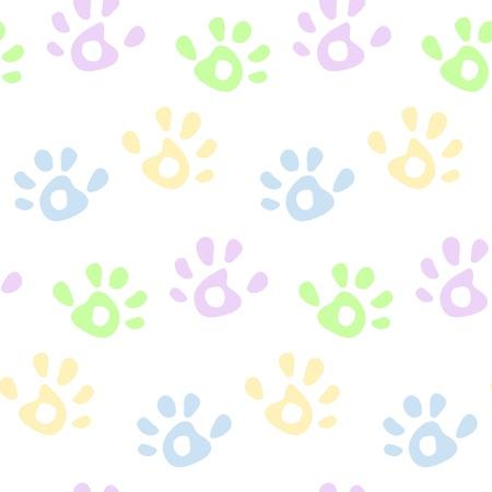 empreinte de main: Enfants � la main color� imprime seamless pattern Illustration