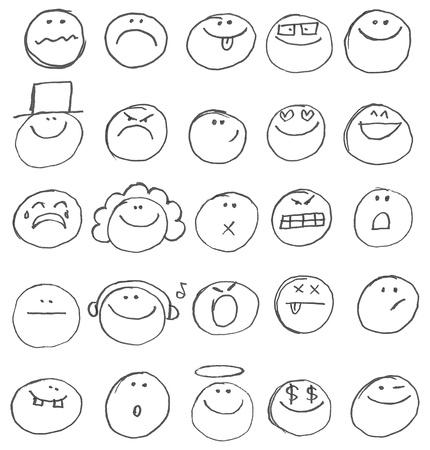 Emoticon doodles gesetzt. Hand gezeichnet Vektorgrafik