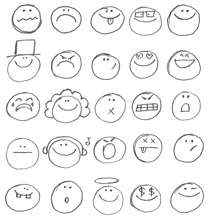 Hand drawn: Emoticon doodles set.  hand drawn