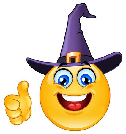 Emoticon met heksenhoed met duim omhoog