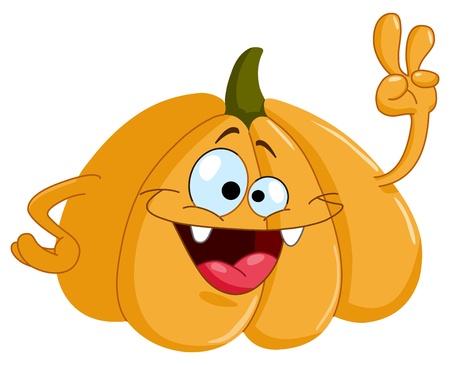 Cartoon pumpkin showing V sign