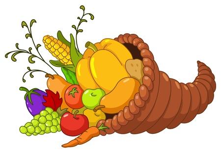 cuerno de la abundancia: Cuerno de la abundancia con Cornucopia frutas y verduras de oto�o