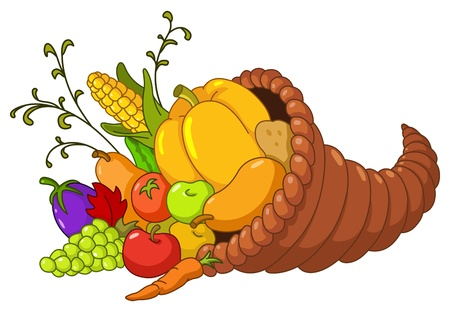 Horn of plenty  Cornucopia with autumn fruits and vegetables Vector