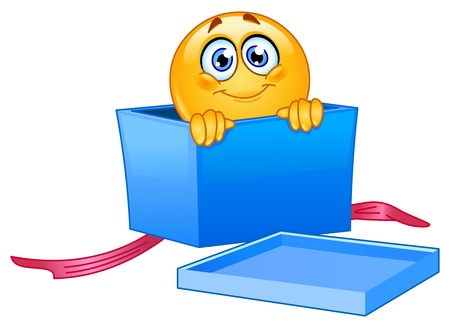 Emoticon peeking out of an open gift box Vector