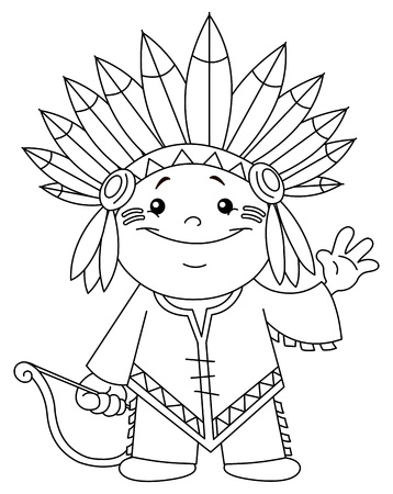 Outlined Indian kid  Coloring page  Illustration