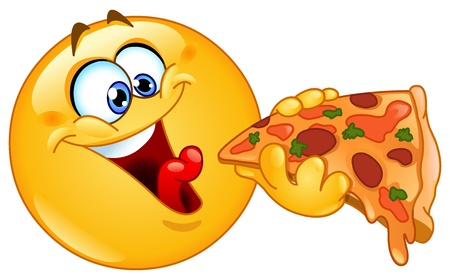 carita feliz caricatura: Emoticon comiendo pizza Vectores