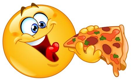 cara sonriente: Emoticon comiendo pizza Vectores