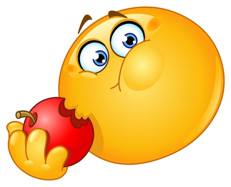 Emoticon eating an apple Illustration