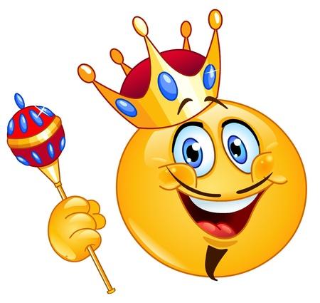 왕: 홀을 들고 왕의 이모티콘 일러스트