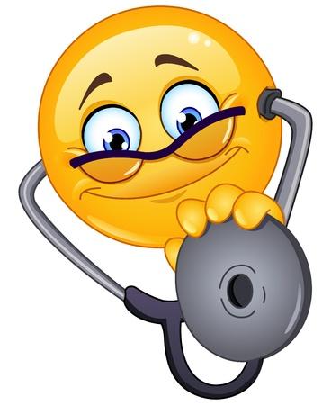 Dokter emoticon met een stethoscoop