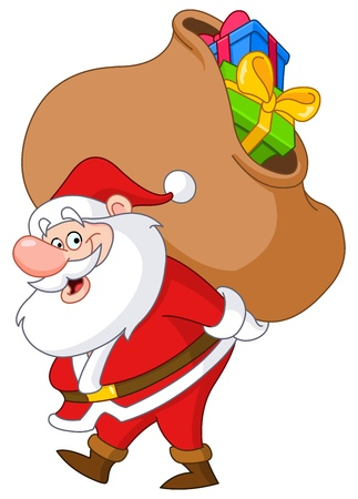 man carrying box: Santa Claus carrying a big gifts sack