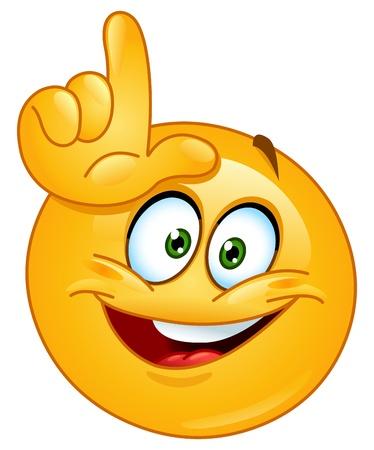 cara sonriente: Emoticon haciendo la señal perdedor