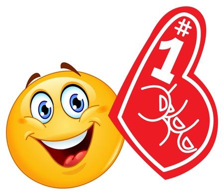 cara sonriente: Emoticon con el dedo de espuma