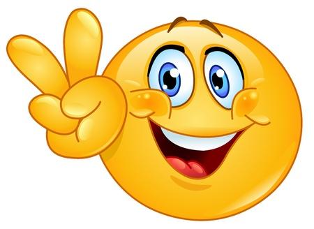 simbolo della pace: Emoticon mostrando il segno V Vettoriali