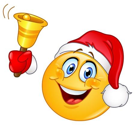 Emoticon con sombrero de Santa sonar la campana de Navidad