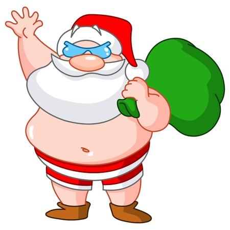maillot de bain: Père Noël sur la plage portant maillot de bain et transportant un sac de cadeaux
