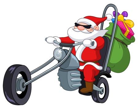 weihnachtsmann lustig: Weihnachtsmann auf einem Motorrad Illustration