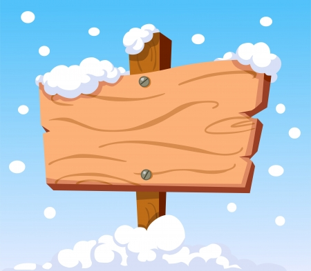 snow road: Cartoon wooden sign in the snow Illustration