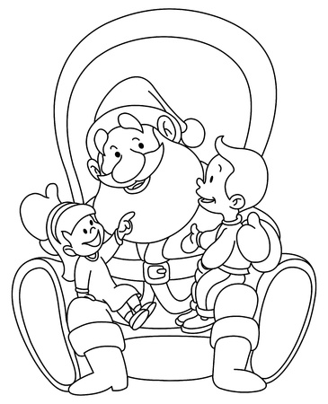 Outlined illustration of kids sitting on Santa lap  Coloring page  Vector