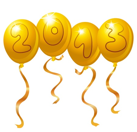 2013 New Year balloons Vector