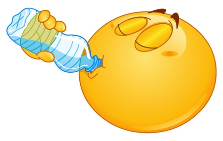 sediento: Emoticon de agua potable de una botella Vectores