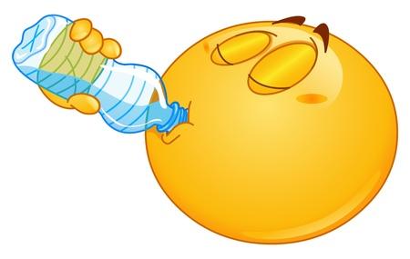 mineralien: Emoticon Trinkwasser aus der Flasche Illustration