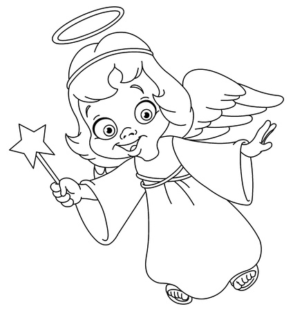 child praying: Outlined Christmas angel  Coloring page  Illustration