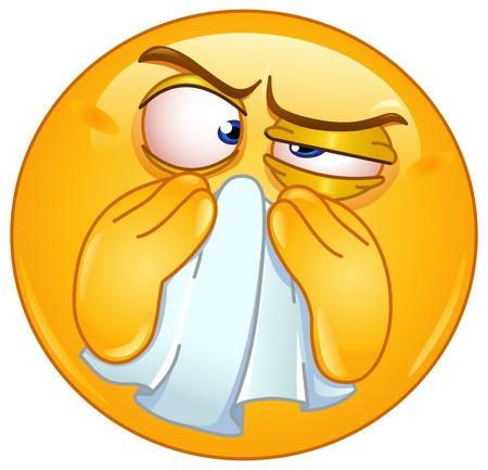 al�rgico: Emoticon limpiarse la nariz Vectores