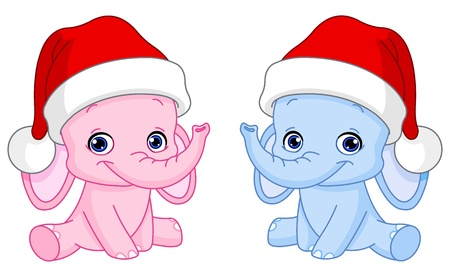 Baby elephants with Santa hats Vector