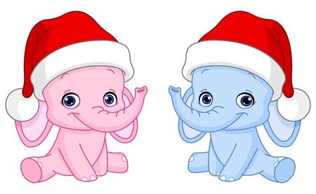 head toy: Baby elephants with Santa hats