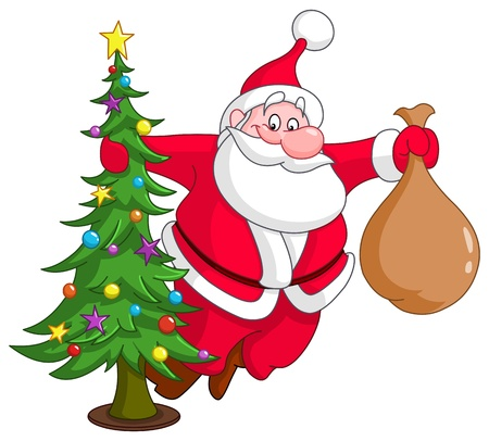 fir tree red: Santa with Christmas tree and gifts sack
