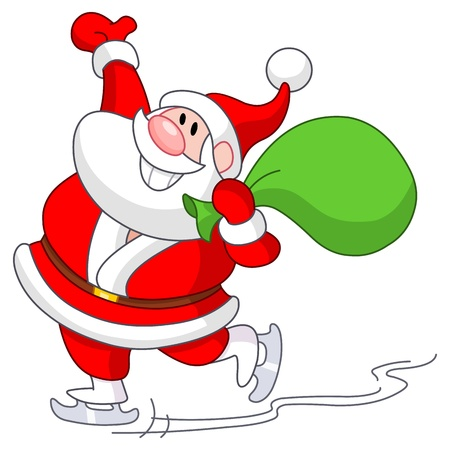 Santa Claus skating on ice Vector