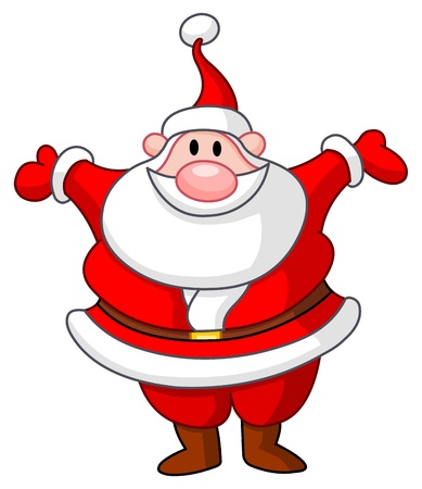 Happy Santa raising his arms